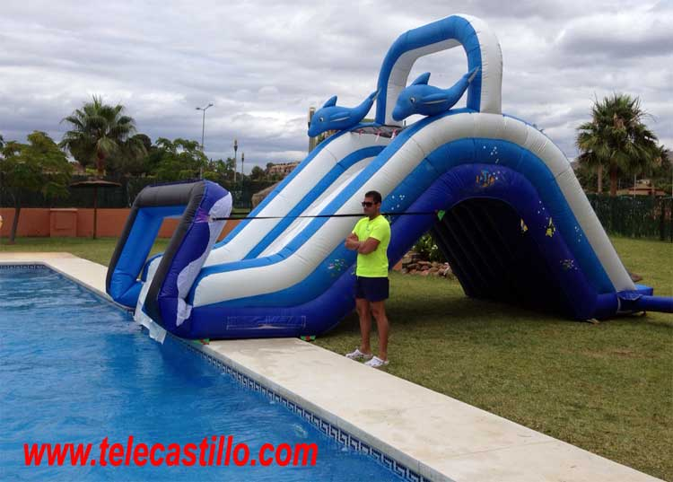 Tobogan hinchable piscina delfines castillos hinchables for Piscinas hinchables grandes
